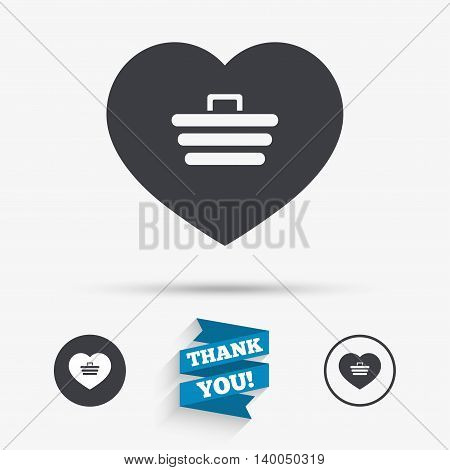 Love Shopping Cart sign icon. Online buying. Flat icons. Buttons with icons. Thank you ribbon. Vector
