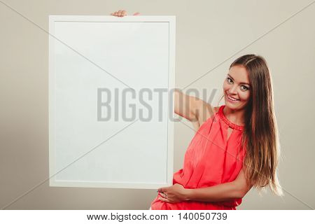 Cute Fashion Woman With Blank Empty White Banner.