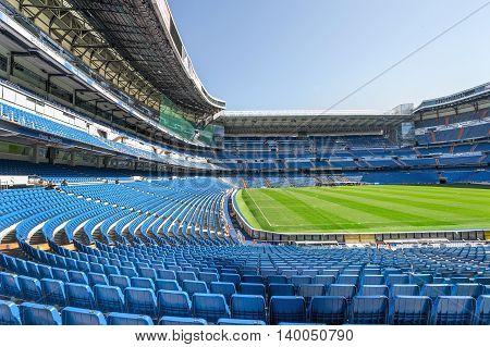 MADRID,SPAIN-MAY 2016: At the tribune of Santiago Bernabeu  stadium