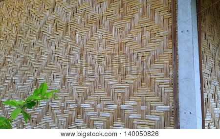 diamond patterns woven in bamboo walls of rural southern Thai house, Songkhla, Thailand