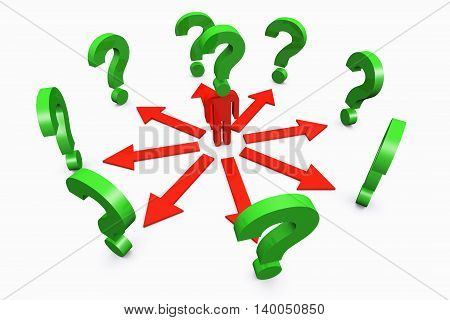 3D illustration of Conceptual question mark human standing around with question mark on white background.