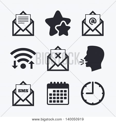 Mail envelope icons. Message document symbols. Post office letter signs. Delete mail and SMS message. Wifi internet, favorite stars, calendar and clock. Talking head. Vector