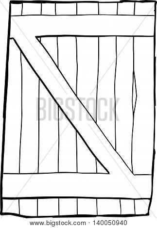 Single Old Reinforced Wooden Door Outline