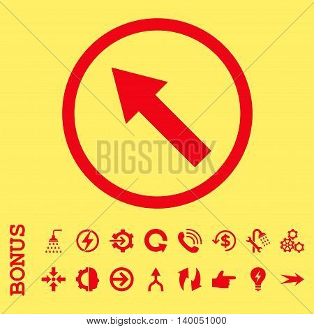 Up-Left Rounded Arrow vector icon. Image style is a flat iconic symbol, red color, yellow background.