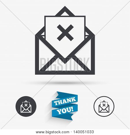 Mail delete icon. Envelope symbol. Message sign. Mail navigation button. Flat icons. Buttons with icons. Thank you ribbon. Vector