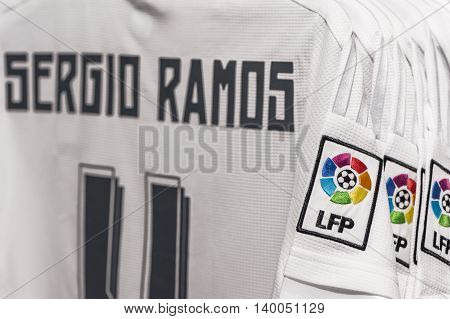 MADRID,SPAIN-MAY 2016: Sergio Ramos t-shirt in the official FC Real Madrid store