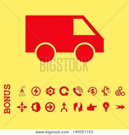 Van vector icon. Image style is a flat pictogram symbol, red color, yellow background.