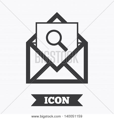 Mail search icon. Envelope symbol. Message sign. Mail navigation button. Graphic design element. Flat mail search symbol on white background. Vector