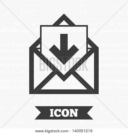 Mail icon. Envelope symbol. Inbox message sign. Mail navigation button. Graphic design element. Flat mail message symbol on white background. Vector