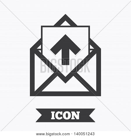 Mail icon. Envelope symbol. Outgoing message sign. Mail navigation button. Graphic design element. Flat message symbol on white background. Vector