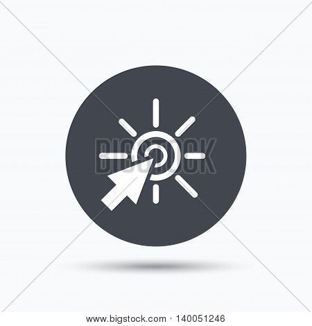 Click icon. Computer mouse cursor symbol. Flat web button with icon on white background. Gray round pressbutton with shadow. Vector