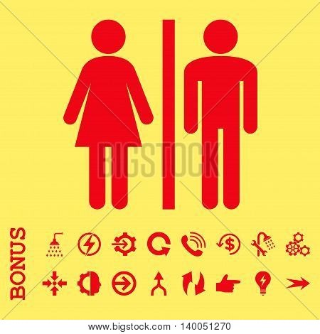WC Persons vector icon. Image style is a flat iconic symbol, red color, yellow background.