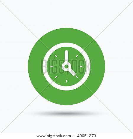 Clock icon. Mechanical watch symbol. Flat web button with icon on white background. Green round pressbutton with shadow. Vector