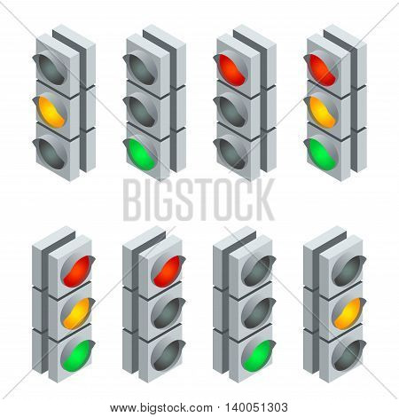 Traffic signal. Traffic light, traffic light sequence. Flat 3d vector isometric illustration