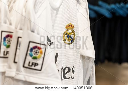 MADRID,SPAIN-MARCH 2016: FC Real  Madrid t-shirts on sale at the official  club store