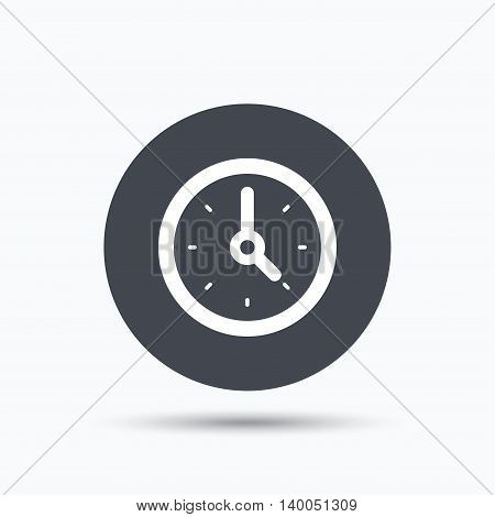 Clock icon. Mechanical watch symbol. Flat web button with icon on white background. Gray round pressbutton with shadow. Vector