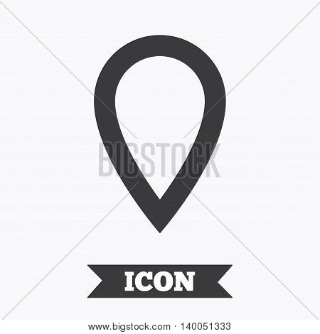 Map pointer sign icon. Location marker symbol. Graphic design element. Flat map pointer symbol on white background. Vector