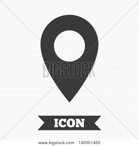 Map pointer icon. GPS location symbol. Graphic design element. Flat map pointer symbol on white background. Vector