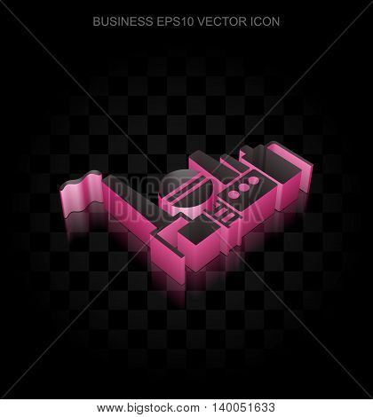 Business icon: Crimson 3d Oil And Gas Indusry made of paper tape on black background, transparent shadow, EPS 10 vector illustration.