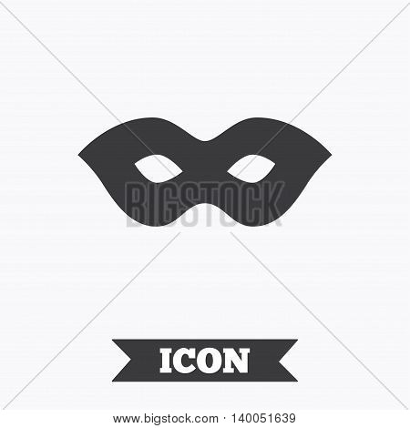 Mask sign icon. Anonymous spy access symbol. Graphic design element. Flat mask symbol on white background. Vector