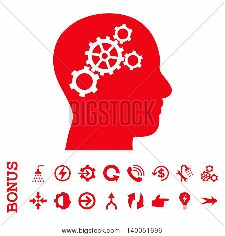 Brain Gears vector icon. Image style is a flat pictogram symbol, red color, white background.