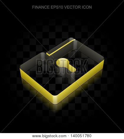 Business icon: Yellow 3d Folder With Keyhole made of paper tape on black background, transparent shadow, EPS 10 vector illustration.