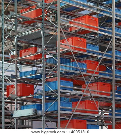Warehouse Shelving System With Crates and Boxes