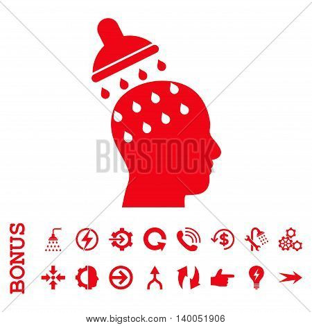 Brain Washing vector icon. Image style is a flat iconic symbol, red color, white background.