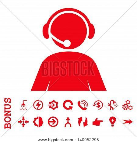Call Center Operator vector icon. Image style is a flat pictogram symbol, red color, white background.