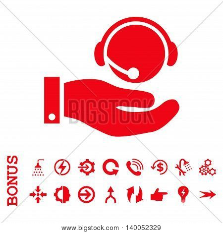 Call Center Service vector icon. Image style is a flat pictogram symbol, red color, white background.