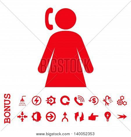 Calling Woman vector icon. Image style is a flat iconic symbol, red color, white background.