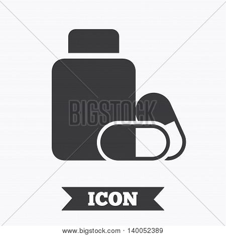 Medical pills bottle sign icon. Pharmacy medicine drugs symbol. Graphic design element. Flat pharmacy symbol on white background. Vector