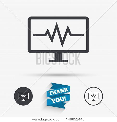 Cardiogram monitoring sign icon. Heart beats symbol. Flat icons. Buttons with icons. Thank you ribbon. Vector