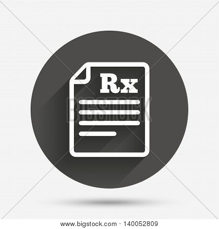 Medical prescription Rx sign icon. Pharmacy or medicine symbol. Circle flat button with shadow. Vector