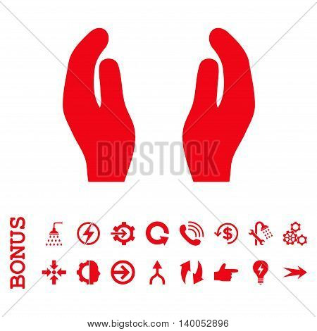 Care Hands vector icon. Image style is a flat pictogram symbol, red color, white background.