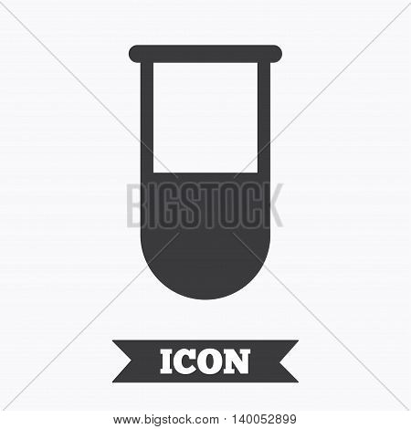 Medical test tube sign icon. Laboratory equipment symbol. Graphic design element. Flat laboratory symbol on white background. Vector