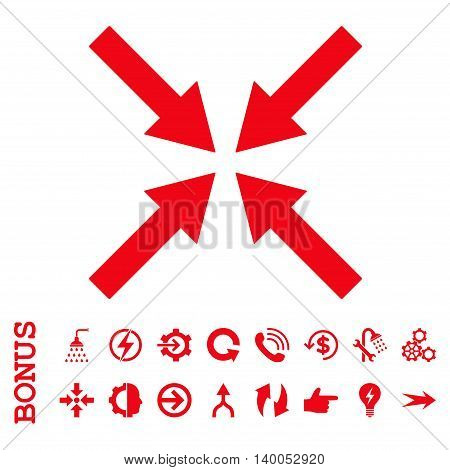 Center Arrows vector icon. Image style is a flat iconic symbol, red color, white background.