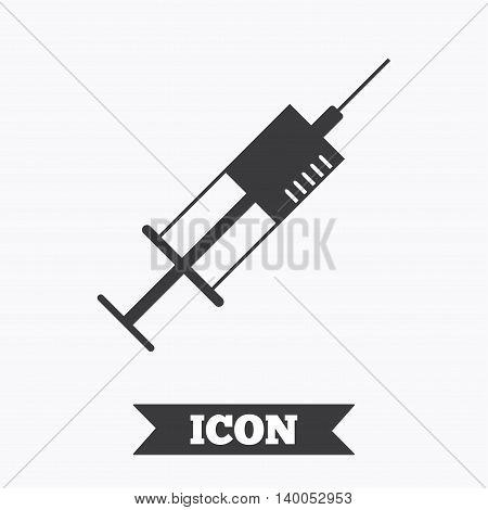 Syringe sign icon. Medicine symbol. Graphic design element. Flat syringe symbol on white background. Vector