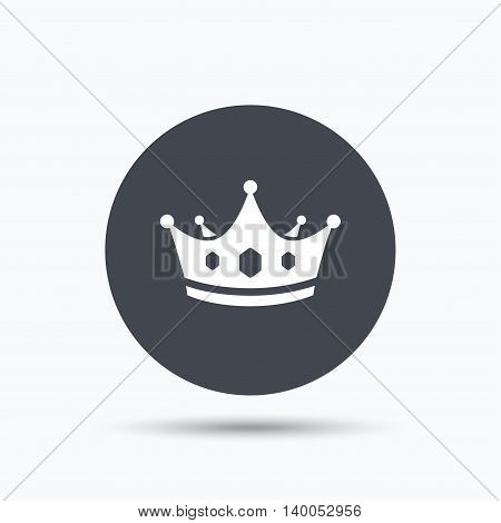 Crown icon. Royal throne leader symbol. Flat web button with icon on white background. Gray round pressbutton with shadow. Vector