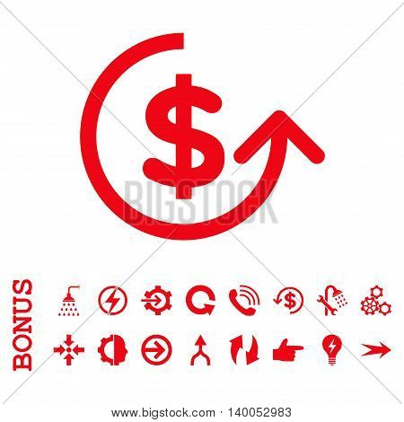Chargeback vector icon. Image style is a flat pictogram symbol, red color, white background.