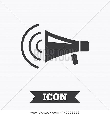 Megaphone sign icon. Loudspeaker strike symbol. Graphic design element. Flat loudspeaker symbol on white background. Vector