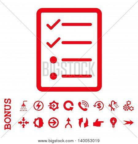 Checklist Page vector icon. Image style is a flat pictogram symbol, red color, white background.