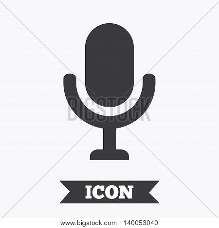 Microphone icon. Speaker symbol. Live music sign. Graphic design element. Flat microphone symbol on white background. Vector
