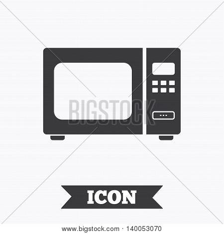 Microwave oven sign icon. Kitchen electric stove symbol. Graphic design element. Flat microwave symbol on white background. Vector