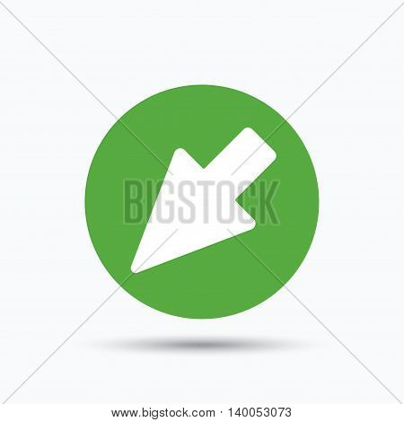 Cursor icon. Computer position marker symbol. Flat web button with icon on white background. Green round pressbutton with shadow. Vector