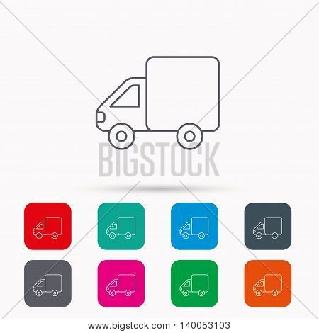 Delivery truck icon. Transportation car sign. Logistic service symbol. Linear icons in squares on white background. Flat web symbols. Vector