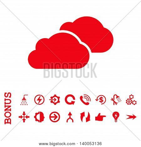 Clouds vector icon. Image style is a flat iconic symbol, red color, white background.