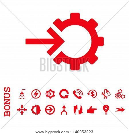 Cog Integration vector icon. Image style is a flat iconic symbol, red color, white background.