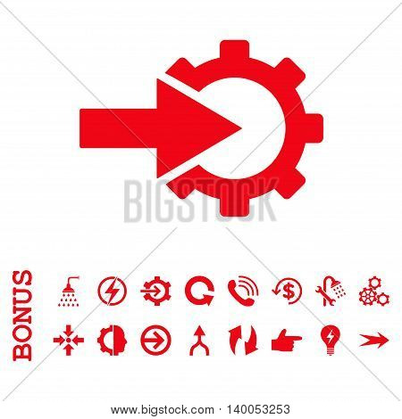Cog Integration vector icon. Image style is a flat pictogram symbol, red color, white background.