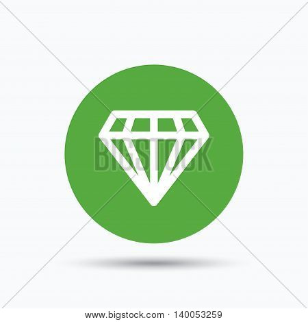 Diamond icon. Jewelry gem symbol. Brilliant jewel sign. Flat web button with icon on white background. Green round pressbutton with shadow. Vector